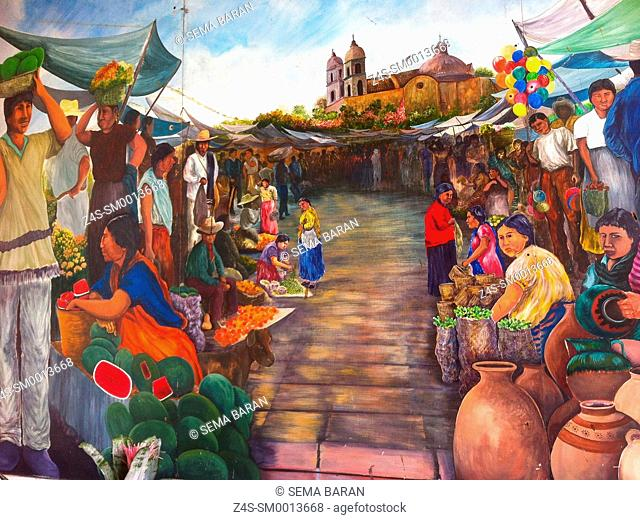 Close-up shot the painting of a view Marketplace in Valladolid, Yucatan Province, Mexico, Central America