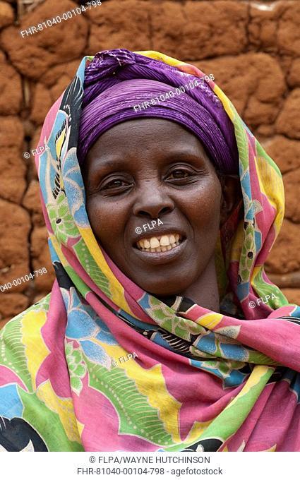 Muslim lady with bright head scarf, close-up of head, Rwanda