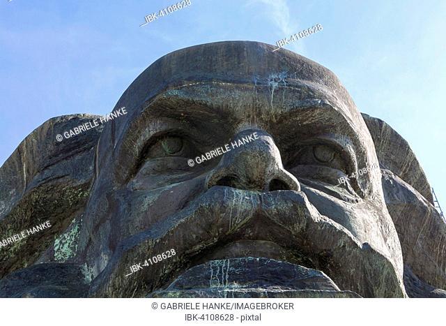 Detail of the Karl Marx Monument, Brückenstraße, Chemnitz, Saxony, Germany