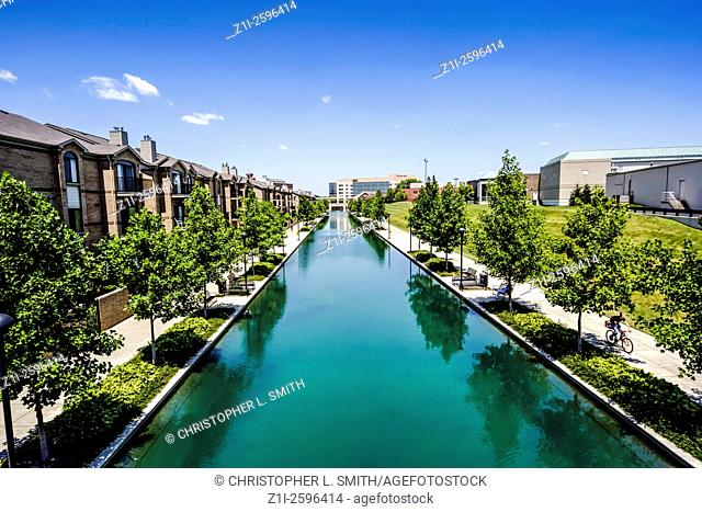 The Indiana Central Canal in the University and arts district of Indianapolis