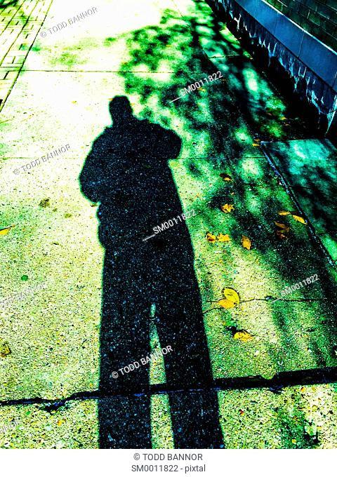 Shadow of man cast on sidewalk, fallen leaves