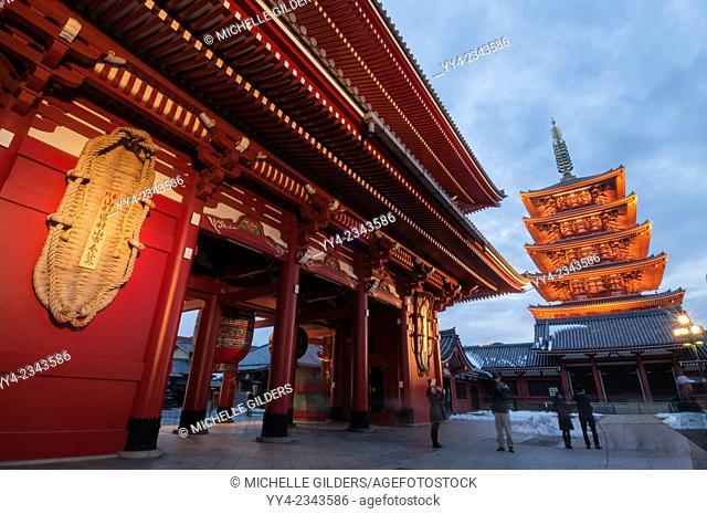 Senso-ji, Buddhist temple, pagoda and HozŠmon, at dusk, Asakusa, Tokyo, Japan