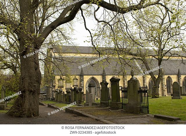 Greyfriars churchyard and Kirk, and one of the most famous graveyards of Edinburgh, XVIIeth Century, Scotland, United Kingdom, Europe