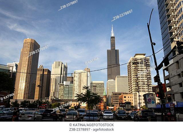 The Willis Tower (formerly the Sears Tower) as seen from Greektown, Chicago, Illinois, IL, USA