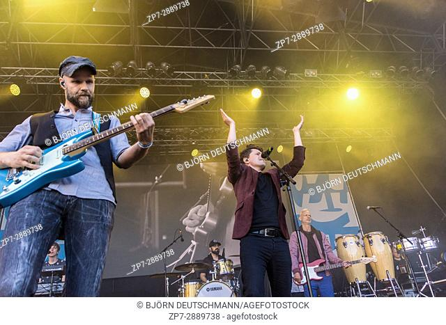 Kiel, Germany - June 17th 2017: Michael Patrick Kelly on the Rathaus Stage on the first Day of the Kieler Woche 2017