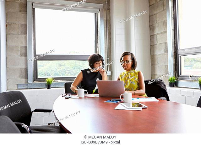 Two women sitting at meeting room table, using laptop