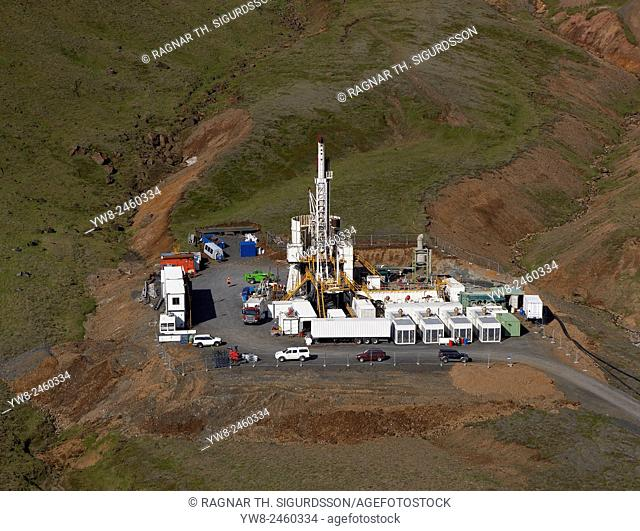 Drilling for hot water on Hellisheidi Power Plant, Iceland