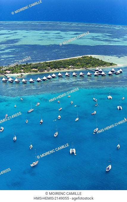 France, New Caledonia, Southern Province, off Noumea, nature reserve island Master, Lagoon listed as World Heritage by UNESCO Escapade Hotel (aerial view)
