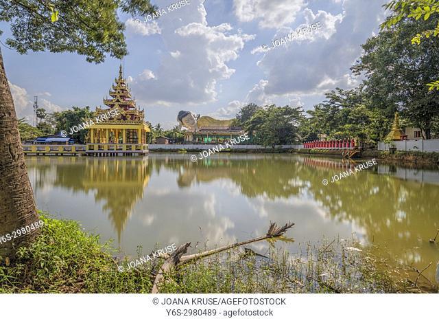 Mya Tha Lyaung Reclining Buddha, Bago, Myanmar, Asia