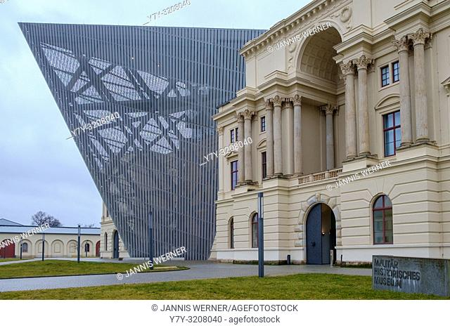 Exterior view of the Daniel Libeskind-designed German Military History Museum in Dresden, Germany. in January 2018