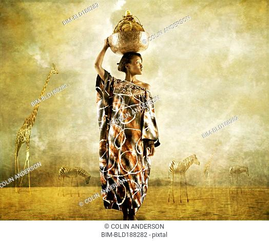 African woman holding bowl on head