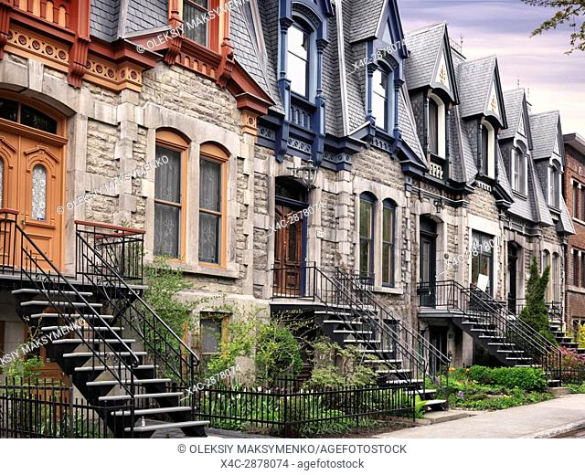 Row of old historic town houses with French style architecture on Avenue Laval in Montreal, Quebec, Canada. L'avenue Laval, Ville de Montréal, Québec, Canada