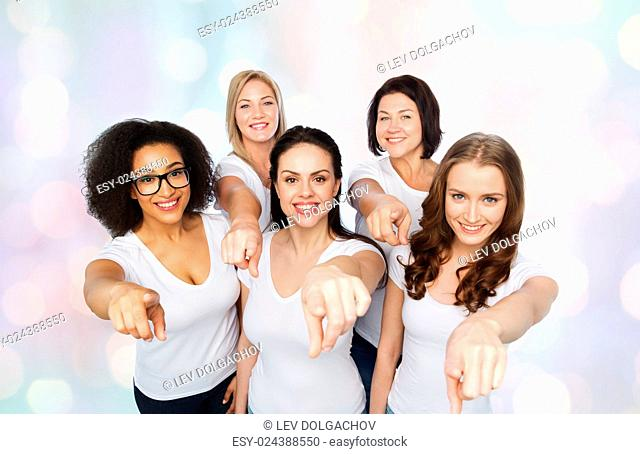 choice, friendship, body positive, gesture and people concept - group of happy different size women in white t-shirts pointing finger on you over holidays...