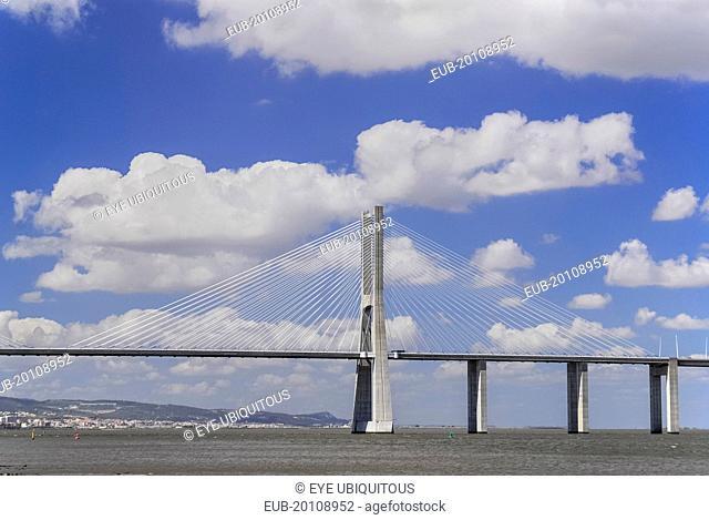 Vasco da Gama suspension bridge over the river Tejo seen from Parc das Nacoes