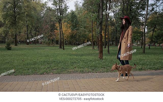 Woman taking a stroll with dog in autumn park