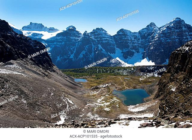 View from Sentinel Pass in Banff National Park, with Minnestimma Lakes below. The Larch Valley trail can be seen from the top of the pass