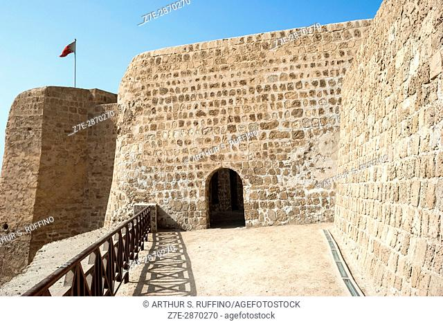 Entrance gate, Qal at al-Bahrain (Bahrain Fort, Portuguese Fort). Bahrain, United Arab Emirates