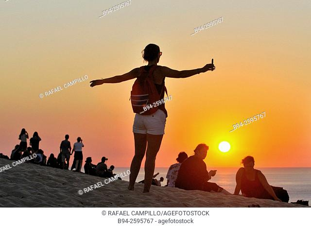 Sunset. Dune of Pilat or Pyla, the tallest sand dune in Europe. La Teste-de-Buch in the Arcachon Bay area, Gironde department, Aquitaine region