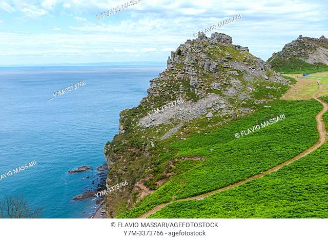 The Valley of Rocks is a dry valley that runs parallel to the coast in north Devon, England