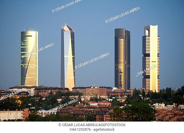 Skyline of Madrid with the four new towers  Paseo de la Castellana  Madrid, Spain