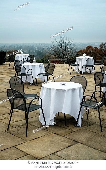 Empty tables,Pembroke Lodge, Richmond Park,West London,England