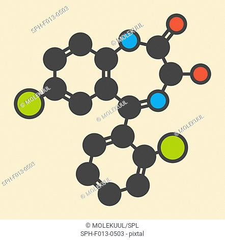 Lorazepam sedative and hypnotic drug (benzodiazepine class) molecule. Stylized skeletal formula (chemical structure). Atoms are shown as color-coded circles:...