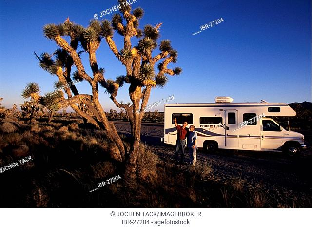 USA, United States of America, California: Joshua Tree National Park Traveliing in a Motorhome, RV, through the west of the US