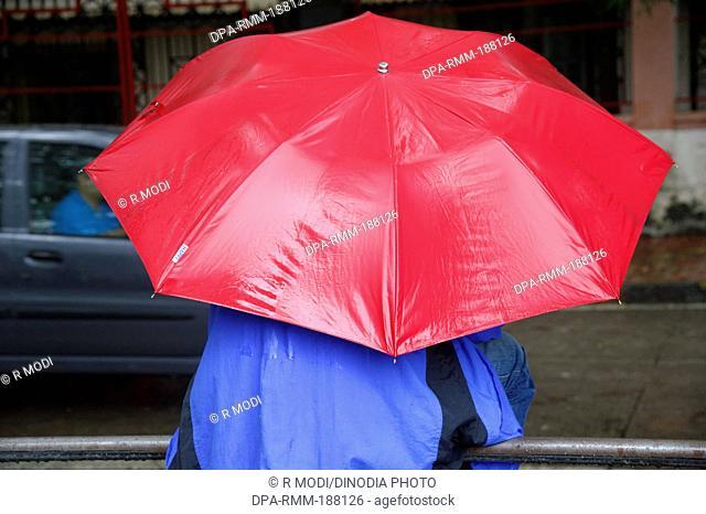 Man in Blue Raincoat with Red Umbrella MR# 364