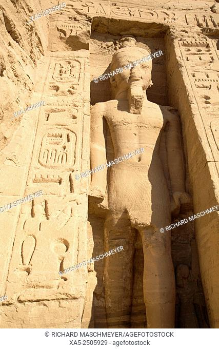 Rock-Hewn Statue of Ramses II, Hathor Temple of Queen Nefertari, Abu Simbel, Egypt