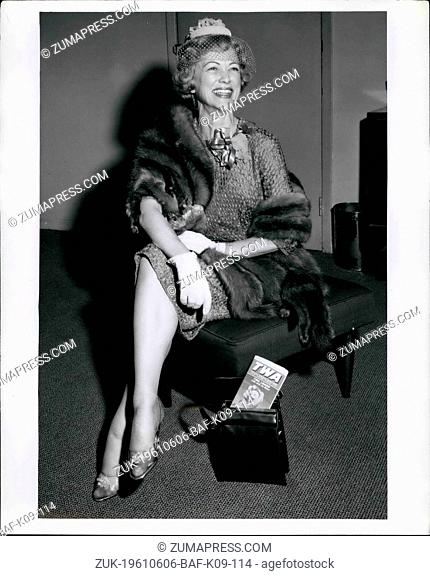 Jun. 06, 1961 - N.Y. International Airport, June 11, 1961.. lovely Eleanor Powell, is shown upon her arrival in New York, via TWA Superjet from Los Angeles