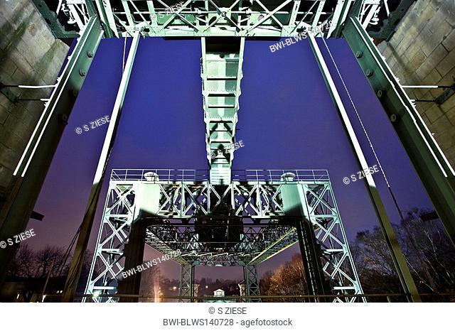 Industrial Museum Ship Lift Henrichenburg at twilight, Germany, North Rhine-Westphalia, Ruhr Area, Waltrop