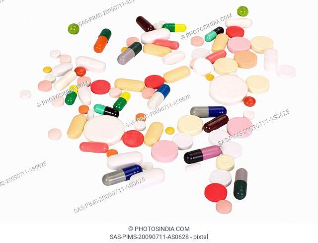 Close-up of assorted pills