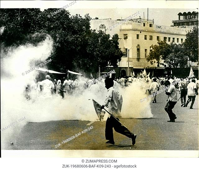 Jun. 06, 1968 - Demonstration In New Delhi. Smoke form an exploding tear gas shell fired by the police in Connaught Place, New Delhi
