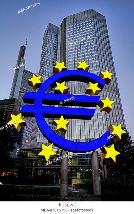 Germany, Hesse, Frankfurt am Main, ECB skyscraper, EURO symbol