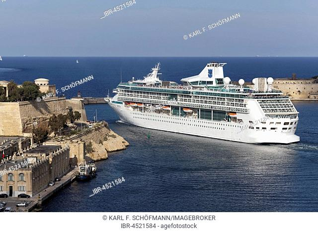 Cruise ship Legend of the Seas, exit Grand Harbor, Valletta, Malta