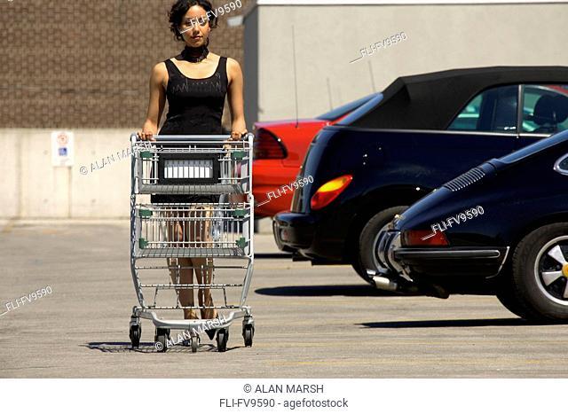 Woman Pushing Shopping Cart in Cocktail Dress