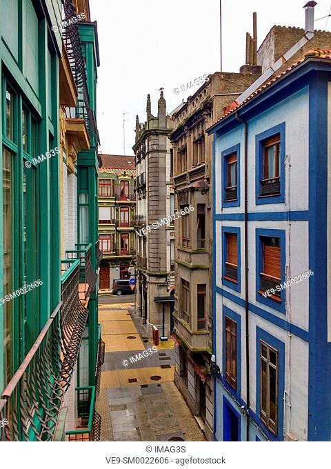 Traditional architecture in Gijon city, Asturias, Spain
