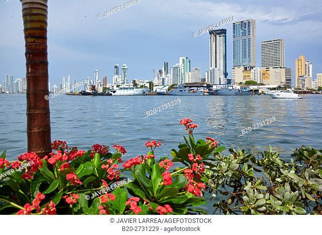 Bahia de las Animas, Bocagrande background, Cartagena de Indias, Bolivar, Colombia, South America