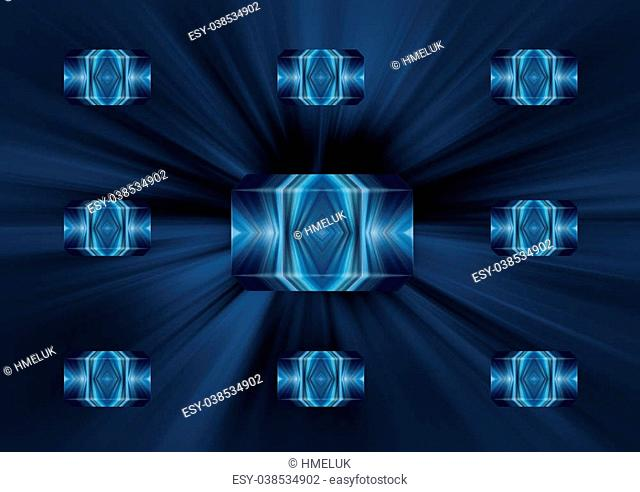 Blue bright abstract background with the elements of geometry