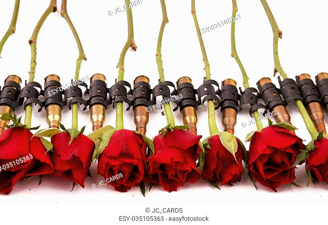 A ammunition belt with roses