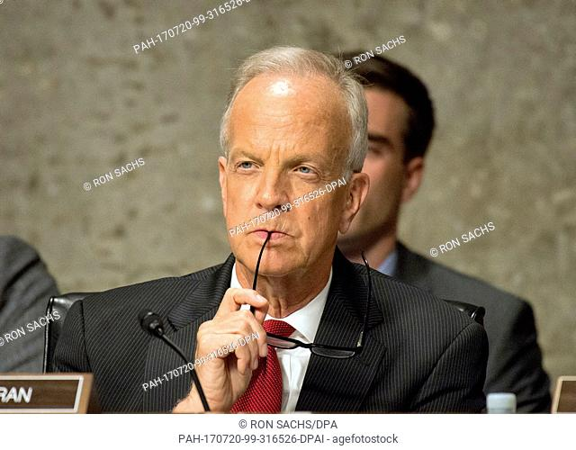 United States Senator Jerry Moran (Republican of Kansas) listens as the US Senate Committee on Commerce, Science, and Transportation conducts hearings to...