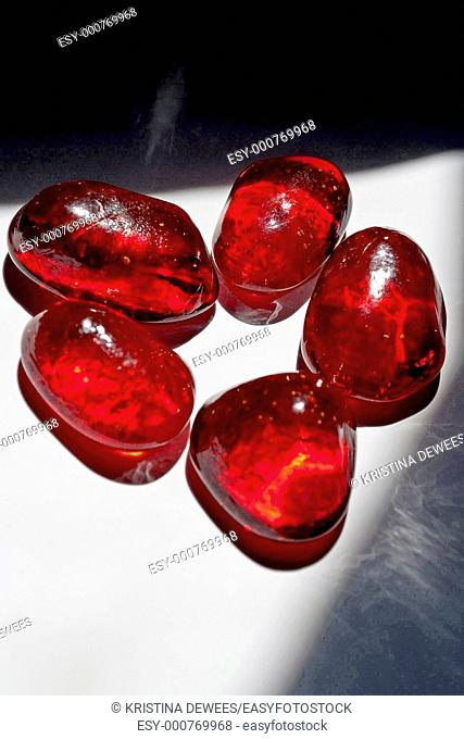 Red glass stones forming a heart