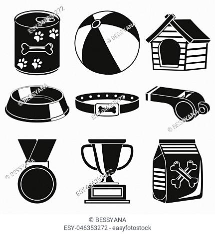Black and white 9 dog care silhouette elements. Simple supplies for domestic animal. Pet shop themed vector illustration for icon, sticker, patch, label, badge
