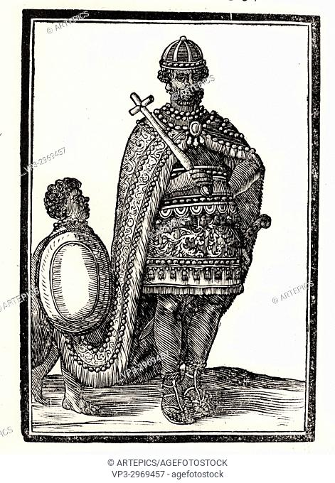 Emperor of Abyssinia carrying a cross. 17th century woodcut