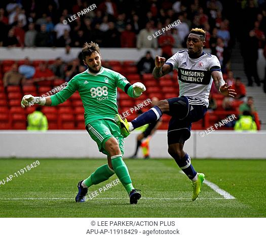 2017 EFL Championship Football Notts Forest v Middlesbrough Aug 19th. 19th August 2017, City Ground, Nottingham, England; EFL Championship league football