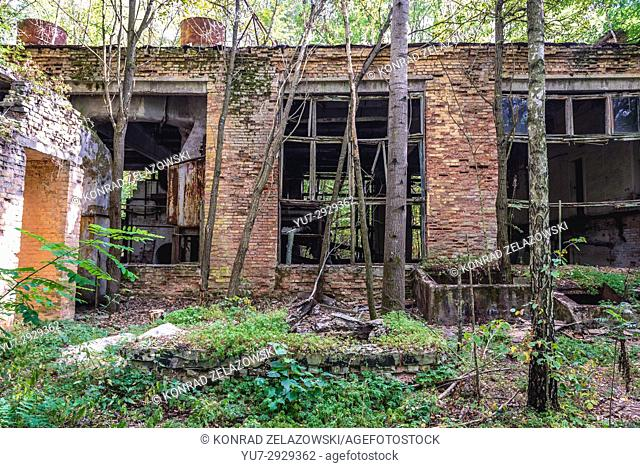 Old building in Chernobyl-2 military base, Chernobyl Nuclear Power Plant Zone of Alienation area around the nuclear reactor disaster in Ukraine