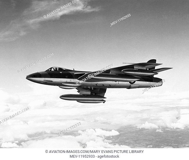 RAF Hawker Hunter Fga-9 Flying with External Fuel Tanks