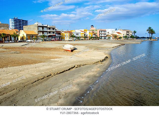Damage caused to the beach at Los Alcazares in Murcia Spain following heavy rain storms