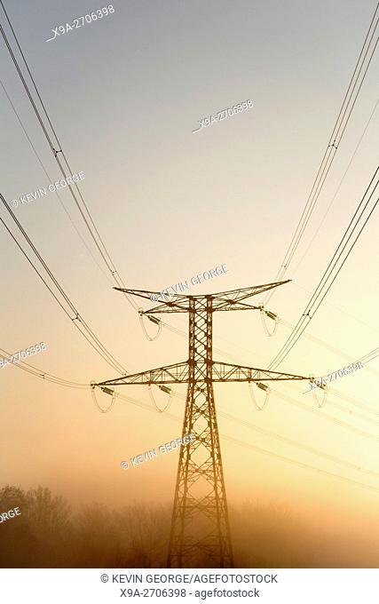 Electricity Pylon in Mist, France