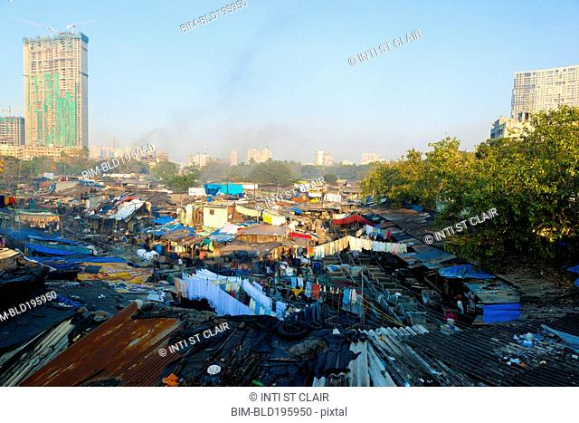 City slum rooftops in large city